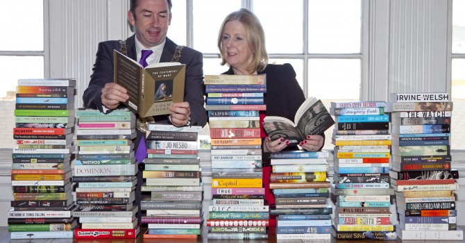Lord Mayor Oisín Quinn & Margaret Hayes City Librarian launch the 2014 International IMPAC DUBLIN Literary Award