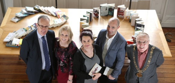 City Manager Eoin-Keegan, City Librarian Margaret Hayes, Author Niamh Boyce, Author Donal Ryan, Lord Mayor Christy Burke